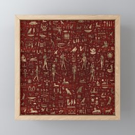 Ancient Egyptian Gods and hieroglyphs - Red Leather and gold Framed Mini Art Print