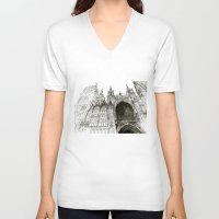 takmaj V-neck T-shirts featuring Rouen facade by takmaj