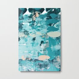 020.2: a vibrant abstract design in teal and peach by Alyssa Hamilton Art  Metal Print
