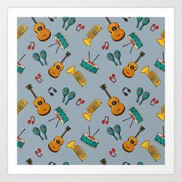 Musical cinza Art Print