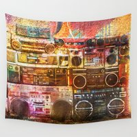 sound Wall Tapestries featuring Sound Wall by Lia Bernini
