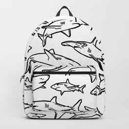 Shark Pattern White Backpack