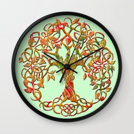 Tree of Life Orange Wall Clock
