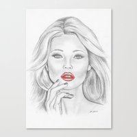 kate moss Canvas Prints featuring Kate Moss by Kim Jenkins