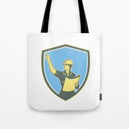 Female Construction Worker Engineer Shield Retro Tote Bag