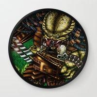 predator Wall Clocks featuring PREDATOR  by Bungle