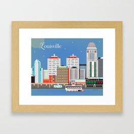 Louisville, Kentucky - Skyline Illustration by Loose Petals Framed Art Print