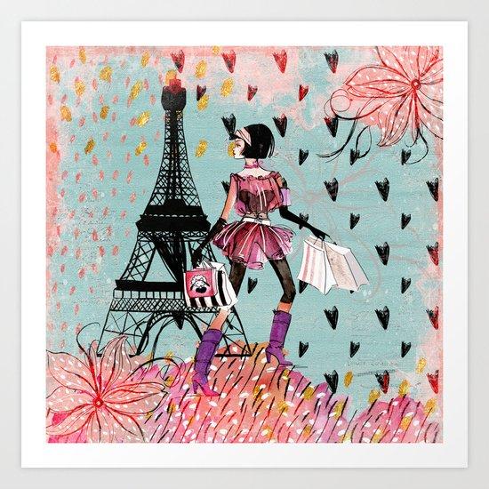 Fashion girl in Paris- Shopping at the EiffelTower Art Print