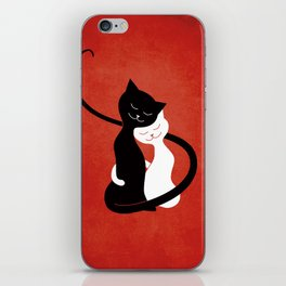 White And Black Cats In Love (red) iPhone Skin