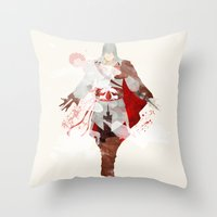 assassins creed Throw Pillows featuring Assassins Creed: Ezio Auditore da Firenze by Nissie