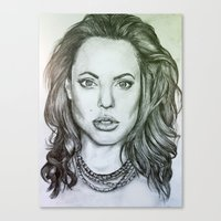 angelina jolie Canvas Prints featuring Angelina Jolie by Kat Lyon