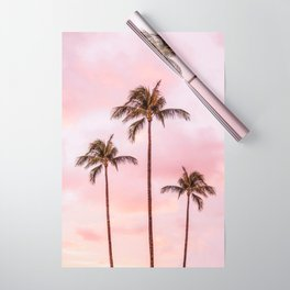 Palm Tree Photography | Landscape | Sunset Unicorn Clouds | Blush Millennial Pink Wrapping Paper
