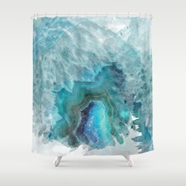 Blue Aqua Agate Shower Curtain