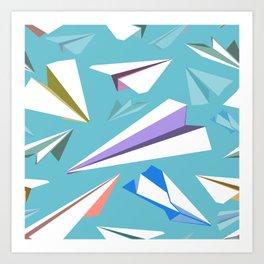 Aeroplanes - Paper Airplanes Pattern Art Print