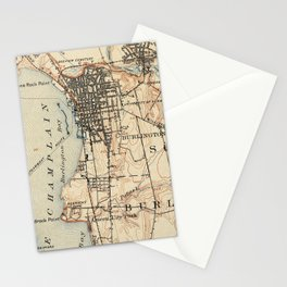 Vintage Burlington Vermont Topographic Map (1904) Stationery Cards
