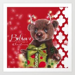 Bruno Christmas Bear (Rudolph Fan) Art Print
