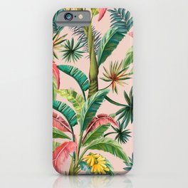 Palm Life, tropical palm leaves, banana palm, Hollywood Regency, green, pinks iPhone Case