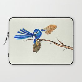 Dancing Blue Fairy Wren Australian Bird Laptop Sleeve