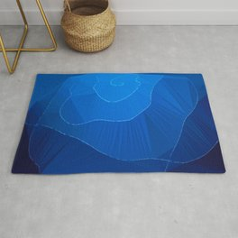 Blue Siphonophore Low Poly Geometric Triangle Art Rug