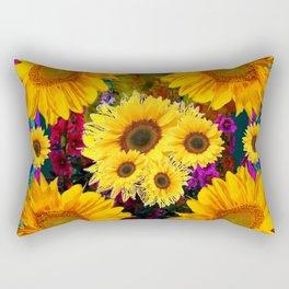 FUCHSIA PURPLE  & YELLOW  SUNFLOWERS ART Rectangular Pillow