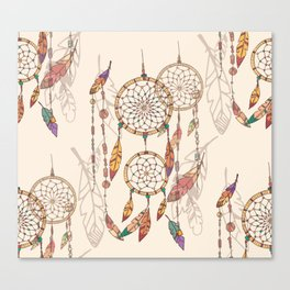 Bohemian dream catcher with beads and feathers Canvas Print