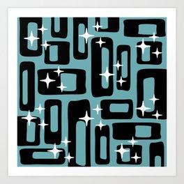 Retro Mid Century Modern Abstract Pattern 677 Black Turquoise Art Print