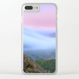 Foggy Mountains. Volcano Teide And Garajonay. 3.718 Meters. Clear iPhone Case