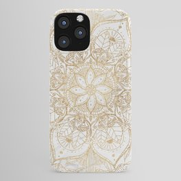 Trendy Gold Floral Mandala Marble Design iPhone Case