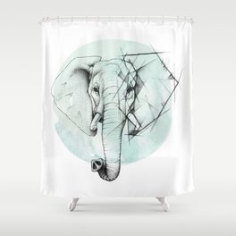 Elephant sketch // Aqua Blue Shower Curtain