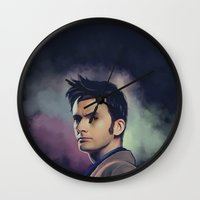 david tennant Wall Clocks featuring David Tennant - Doctor Who by KanaHyde
