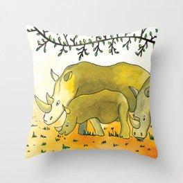 Noah's Ark - Rhino Throw Pillow