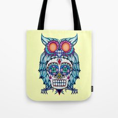 Sugar Skull Owl Day Of The Dead Tote Bag