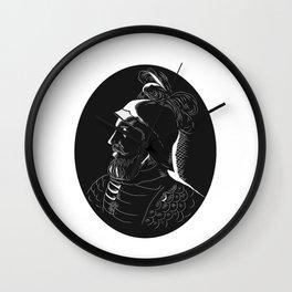 Vasco Nunez de Balboa Conquistador Woodcut Wall Clock