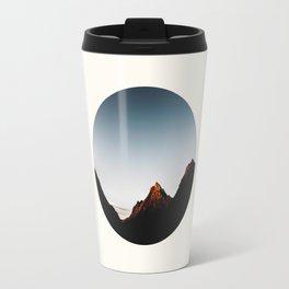 Mid Century Modern Round Circle Photo Sharp Mountain Silhouette Sunrise Travel Mug