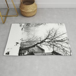 New York City At Snow Time Black and White Rug