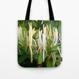 Closeup shot of Lonicera European Honeysuckle Flower Tote Bag