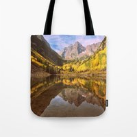 mountains Tote Bags featuring mountains. Mirror Lake by 2sweet4words Designs