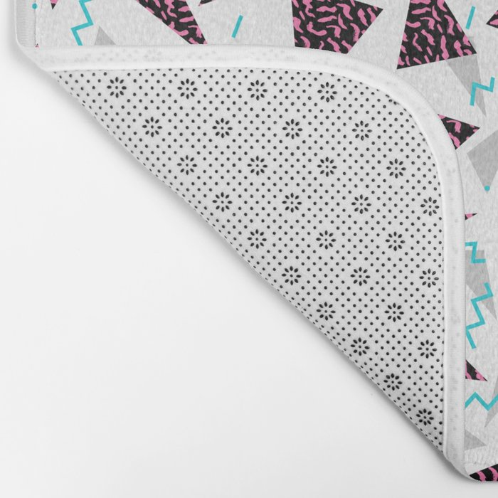 Trendy 80's style geometric triangle retro cool neon pattern art print affordable college dorm decor Bath Mat