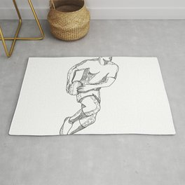 Rugby Player Passing Ball Doodle Art Rug