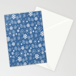 Snowflake Snowstorm With Sky Blue Background Stationery Cards