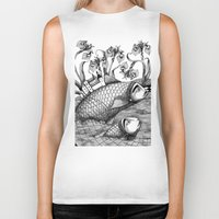 jazzberry Biker Tanks featuring The Golden Fish (1) by Judith Clay