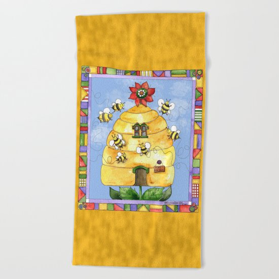 Busy Bees with Border Beach Towel