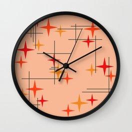 Mid Century Modern Stars Burnt Orange Wall Clock