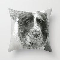 border collie Throw Pillows featuring Border Collie by Sarahphim Art