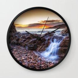 Ocean cascade at Rotherslade Bay Wall Clock