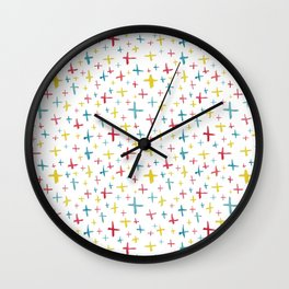 Watercolor Plus Signs Wall Clock