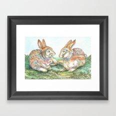 Resting Rabbits Framed Art Print