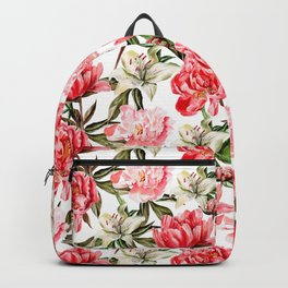 Peonies and Lilies - flower pattern no 1 Backpack