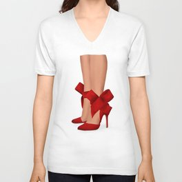 Red designer shoes Unisex V-Neck