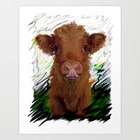 cow Art Prints featuring cow by Vector Art